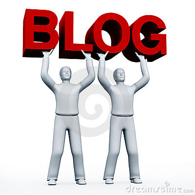 Four people holding a blog