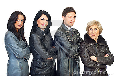 Four people in leather jackets