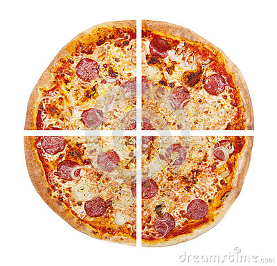 Free Four Pieces Of Pizza Isolated On The White Stock Photo - 70314970