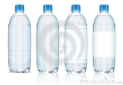 Four plastic bottles with labels.