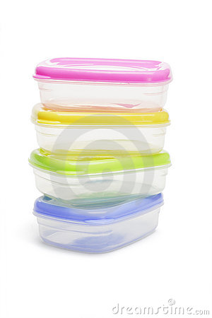 Four plastic storage containers