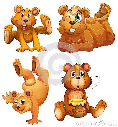 Four playful brown bears