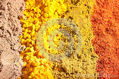 Four raws of flavorful bright spices