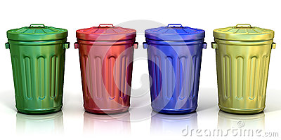 Four recycle bins for recycling paper, metal, glass and plastic Stock Photo