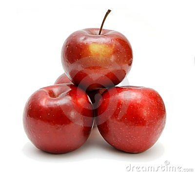 Four red apples in a pyramid