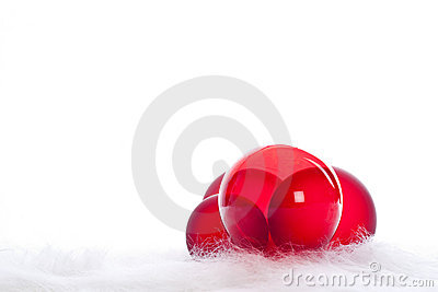 Four red christmas baubles