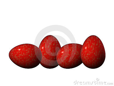 Four red and golden Easter eggs