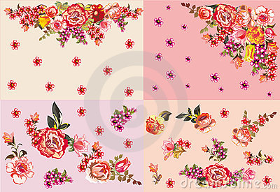 Four red and pink flower decorations