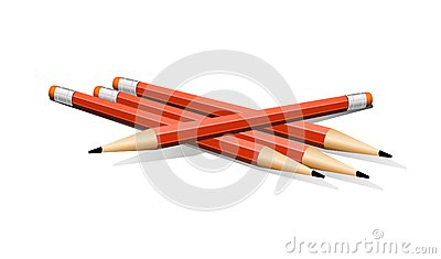 Four Red Vector Pencils