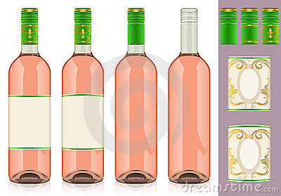 Four rosè wine bottles with label