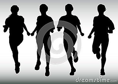 Four running girl