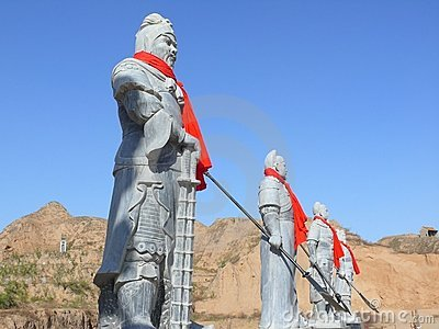 Four samurai statue