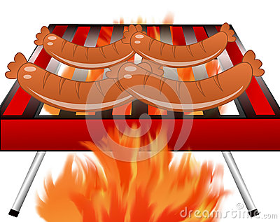 Four sausages broil on a grill
