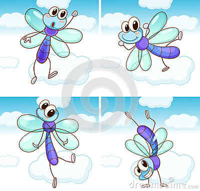 Free Four Scenes Of Dragonfly Flying In Sky Stock Image - 73094061