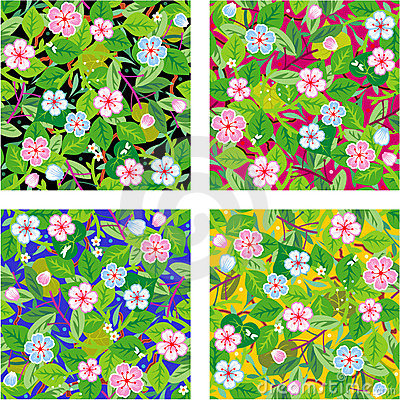 Four seamless floral patterns