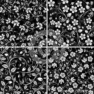 Free Four Seamless Flower Patterns Royalty Free Stock Photo - 5390545