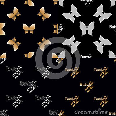 Free Four Seamless Pattern With Golden Butterflies Royalty Free Stock Image - 61333416