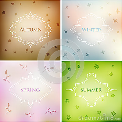 Four season blurred smooth backgrounds set with frames and eleme stock vector image 54888479 - Autumn plowing time all set for winter ...