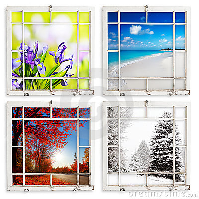 Four season views through grungy painted windows