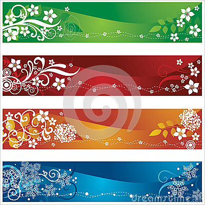 Four seasonal banners with flowers and snowflakes
