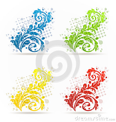 Four seasonal floral colorful set isolated