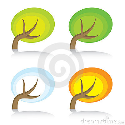 Four seasonal icons with tree