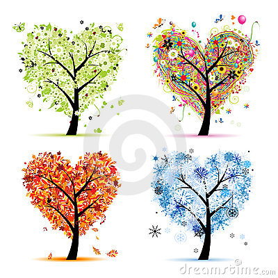 Four seasons. Art tree heart shape Vector Illustration
