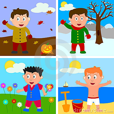 Free Four Seasons Boys Stock Photos - 8596043