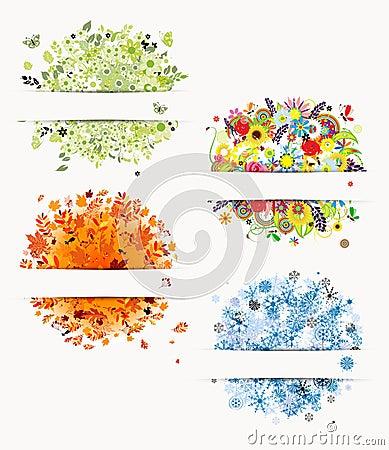 Free Four Seasons, Design Frames Royalty Free Stock Photos - 25164198
