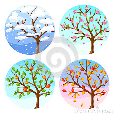 Free Four Seasons. Illustration Of Tree And Landscape In Winter, Spring, Summer, Autumn. Stock Photo - 91243160