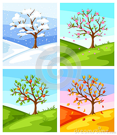 Free Four Seasons. Illustration Of Tree And Landscape In Winter, Spring, Summer, Autumn. Stock Images - 91578614