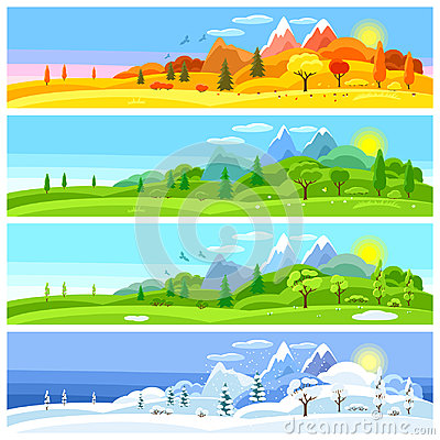 Free Four Seasons Landscape. Banners With Trees, Mountains And Hills In Winter, Spring, Summer, Autumn. Royalty Free Stock Images - 98565549