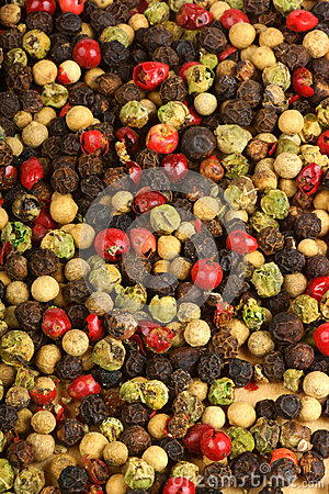 Four seasons pepper grains background