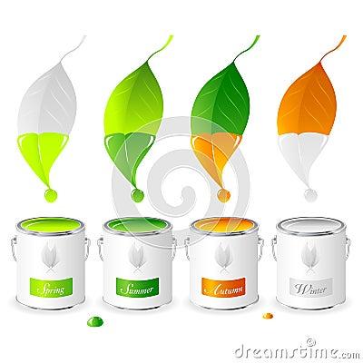 Free Four Seasons - Set 01 - Paint Tins Stock Images - 14901184