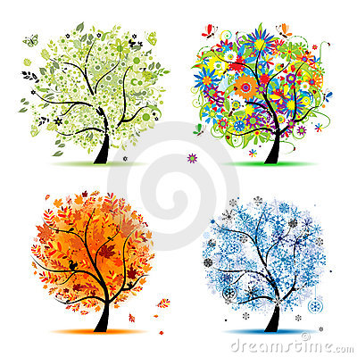 Four seasons - spring, summer, autumn, winter tree