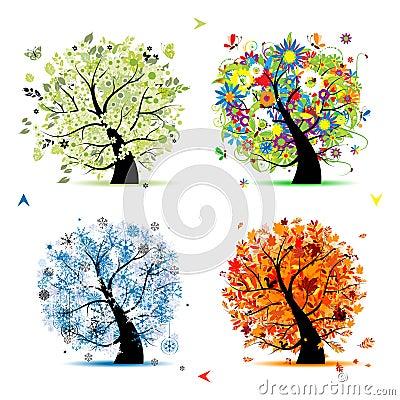 Free Four Seasons-spring, Summer, Autumn, Winter Tree Royalty Free Stock Image - 17760386