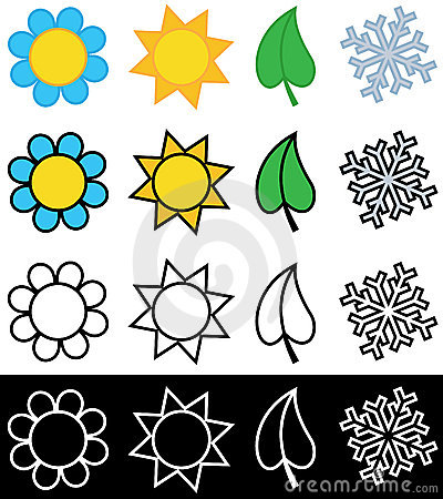 Stock Image: Four seasons symbols in color or black and white