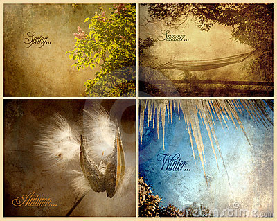 Four seasons textured collage.