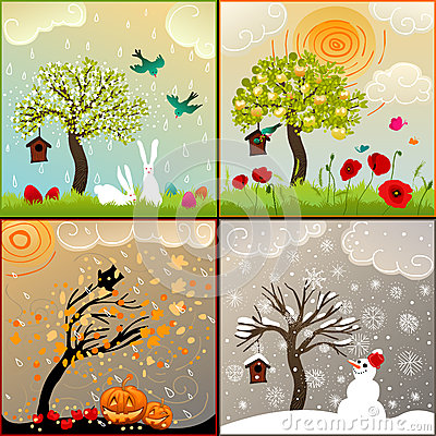 Free Four Seasons Themed Illustrations Set With Apple Tree, Birdhouse And Surroundings Royalty Free Stock Photo - 53158475