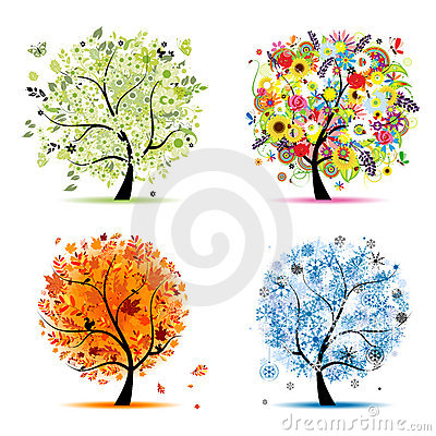Free Four Seasons Tree - Spring, Summer, Autumn, Winter Royalty Free Stock Images - 16883379