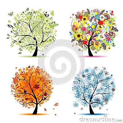 Four seasons tree - spring, summer, autumn, winter