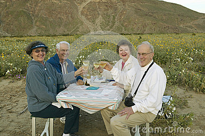Four senior citizens drinking white wine Editorial Photography