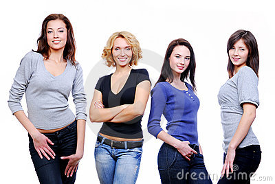 Four sexy young happy girls