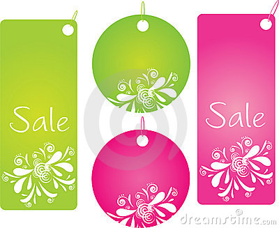 Four shopping badges with pretty design