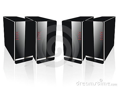 Four side by side black server