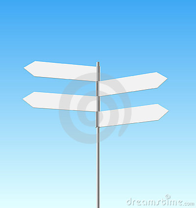 Four signpost on sky background