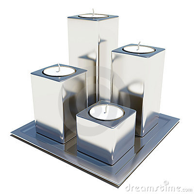 Four silver or stainless candle holders
