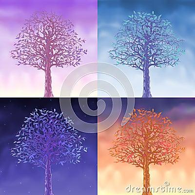 Four sky trees