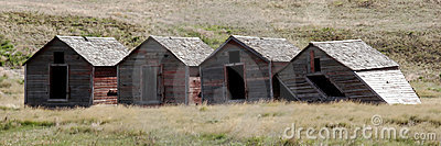 Four small buildings