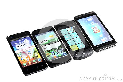 Four smartphones Editorial Stock Image